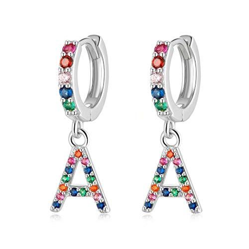 Qings Drop Earrings Initial, 925 Sterling Sliver Earrings Colorful Cubic Zirconia Earrings A Initial Earrings Hoop Earrings Birthday Gifts for Girls Teens Women
