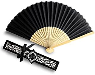 Doris Home 50pcs Black Silk Bamboo Handheld Folded Fan Wedding Favor Fan with Laser Cut Gift Box for Bridal Gift Party Favors (Without Names),FAN01-50BA
