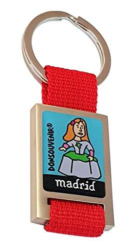 Llavero Madrid DONSOUVENIR. Modelo: MENINA. Keyring Madrid. Correa ROJA.
