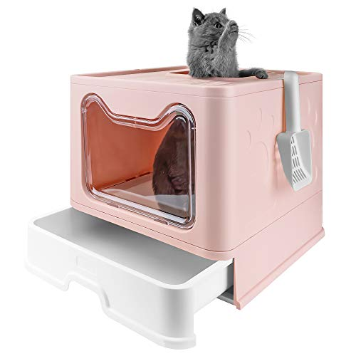 Bolux Foldable Cat Litter Box with Lid, Extra Large Litter Box with Cat Litter Scoop, Drawer Type Cat Litter Pan Easy to Scoop & Low Tracking ( Pink, 20' L x 16' W x 15' H )