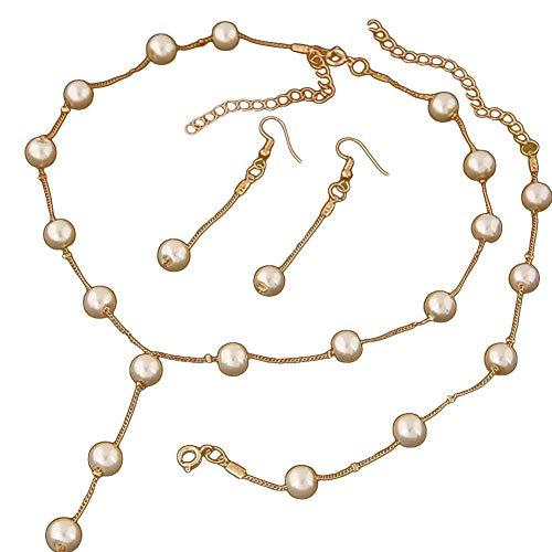 XQxiqi689sy - Juego de 3 pulseras de perlas sintéticas para mujer Golden