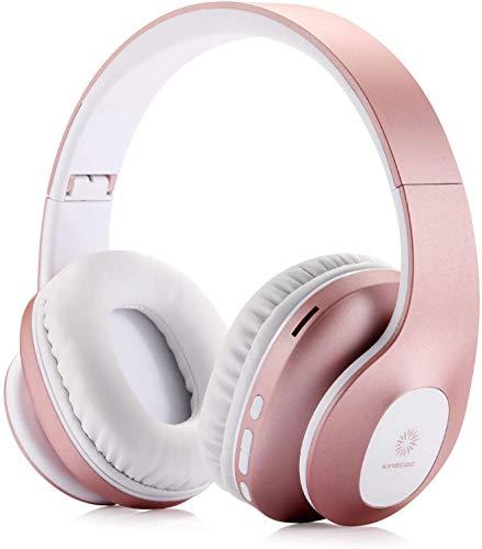 KINGCOO Bluetooth Cuffie Auricolari Pieghevoli, 4 in 1 Bluetooth V5.0 Over Ear Auricolare Stereo Senza Fili e Cablate Cuffie con Microfono,Supporto Micro SD/TF,Radio FM per Cellular/PC (Oro Rosa)