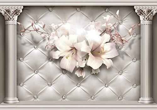 wandmotiv24 Fototapete 3D Effekt Säulen Blüten Diamanten, XXL 400 x 280 cm - 8 Teile, Fototapeten, Wandbild, Motivtapeten, Vlies-Tapeten, Abstrakt Raumerweiterung M6100
