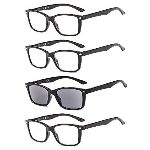 Suertree BM151TY Leesbril, 4 stuks, veerscharnier, zichthulp, zonneleesbril, leeshulp voor dames en heren, 1,5 x