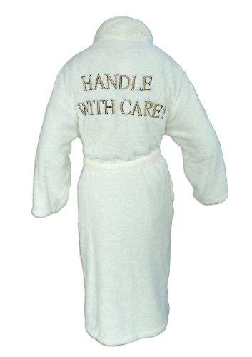 Harwoods Bademantel Handle With Care - Wellsoft-Fleece - Bestickt - Creme