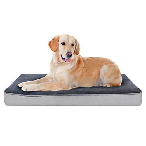 Focuspet Cama Perro Ortopédica, Cama para Perros Colchoneta de Espuma Viscoelástica para Mascotas con Funda Extraíble y Lavable para Perros, Incluye Juguete para Masticar,Tamaño XL:100x75x10cm