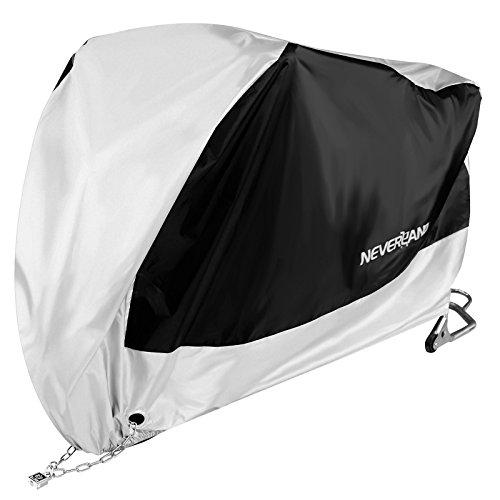 NEVERLAND Motorradplane Neverland Motorrad Abdeckplane Atmungsaktiv Motorrad Garage Schutzhülle Schutz Cover StaublichtSchwarz/Silber XXXL 295x110x140cm