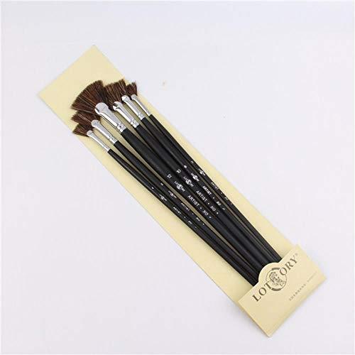Juego de 6 pinceles de cerdas WYN con forma de abanico, suministros artísticos, bolígrafos de pintura al óleo, para estudiantes, 33 cm