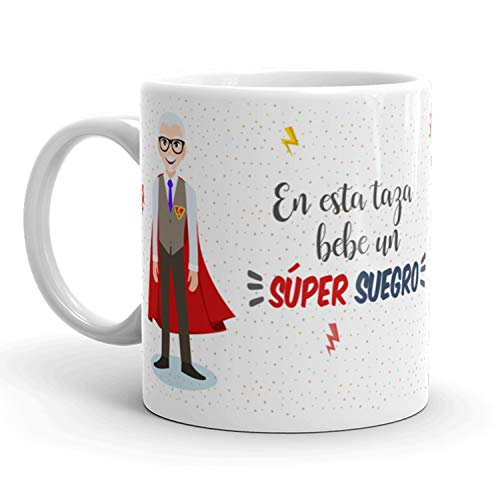 Kembilove Taza de Café para Suegro – Aquí Bebe un Super Suegro – Taza de Desayuno para Familia – Regalo Original para Familiares, Navidad, Aniversarios – Taza de Cerámica de 350 ml