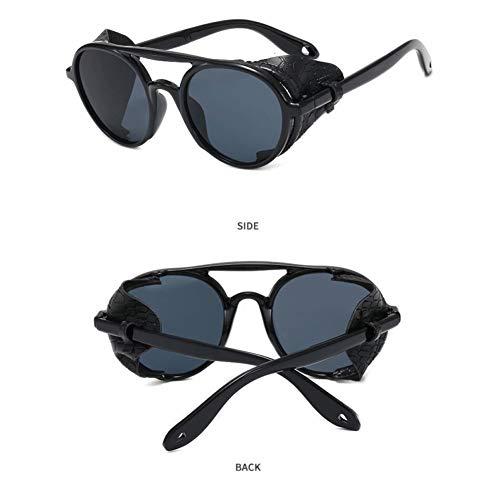 HONGYAN Gafas De Sol Steampunk Hombres Mujeres Gafas Gafas De Sol Redondas Hombre Mujer Steam PunkModa Gafas