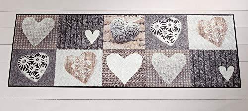 Salonloewe Fußmatte waschbar Alpenglück Herzen 60x180 cm SLD0122-060x180