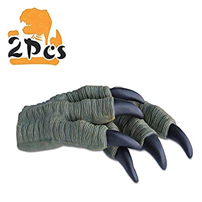 Zokomart Dinosaur Claws Toys 2PCS Kids Halloween Toys Soft Rubber Realistic Velociraptor Claws for Adult Kids Cosplay by Zokomart