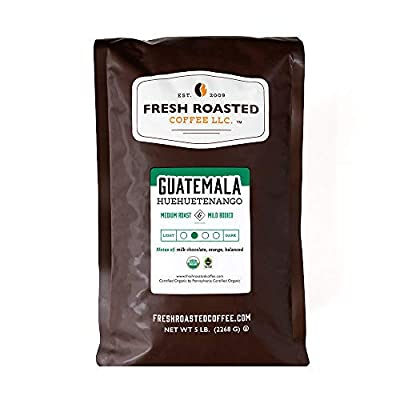 Fresh Roasted Coffee LLC, Organic Guatemalan Huehuetenango Coffee, Medium Roast, Whole Bean, 5 Pound Bag