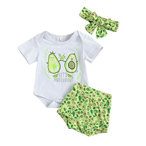 Carolilly - Conjunto de 3 peleles de manga corta con estampado de aguacate + pantalones cortos + diadema (0 a 18 meses), verde, 3-6 meses