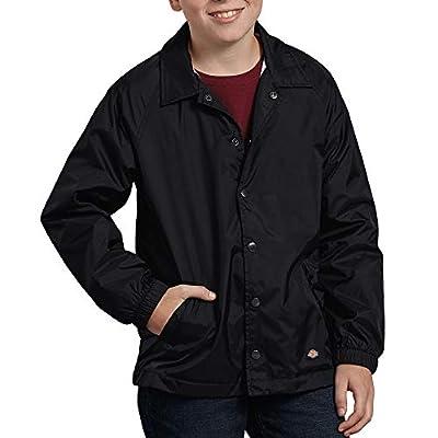 Dickies Kids Boys' Big Snap Front Nylon Jacket, Black, Medium