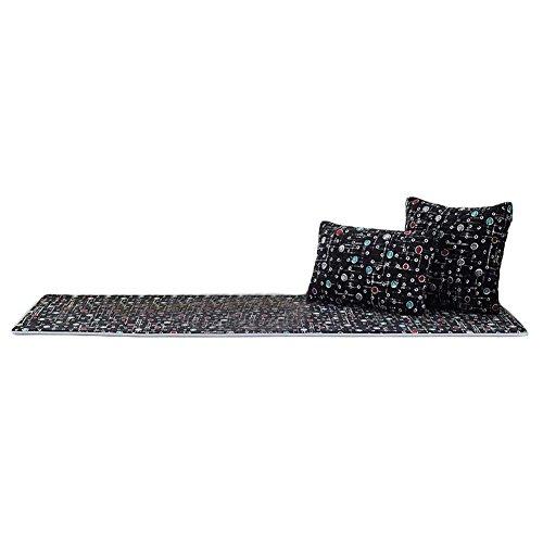 Blancho [Schwarze Punkte] Korallen Samt Tatami Matte Fenster Tisch Matte, Keine Kissen, 19.7x59 Zoll