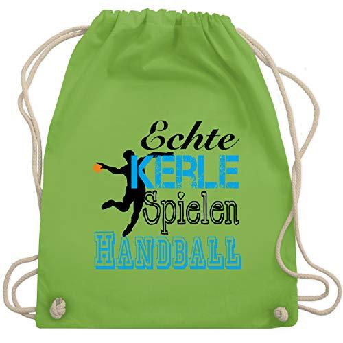 Shirtracer Handball - Echte Kerle Spielen Handball - Unisize - Hellgrün - turnbeutel junge - WM110 - Turnbeutel und Stoffbeutel aus Baumwolle