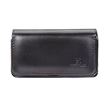 Premium Black Leather Sideways Phone Case Holster Cover with Swivel Belt Clip for Verizon Casio G-zOne Commando 4G LTE