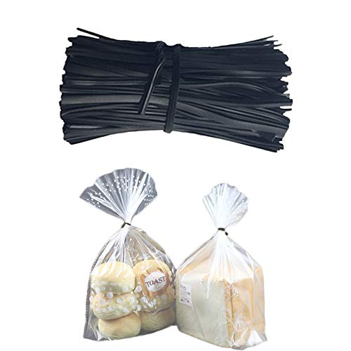 Wuchuan-us Reusable Twist Ties, Plastic Twist Ties Strips for Making Facial Face Mask, Bread Ties for Party Candy Coffee Treat Bags, Ideal for Bags Packing Kitchen, Storage (Black, 1000 Pcs, 12 cm)