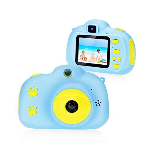 Fotocamera per Bambini Giocattolo Videocamera Digitale per Bambini Giocattolo per Bambini Schermo HD da 2 Pollici 1080P con 32 GB TF Card Giocattoli Regalo Ragazzi Ragazze da 3 a 12 Anni (blu)