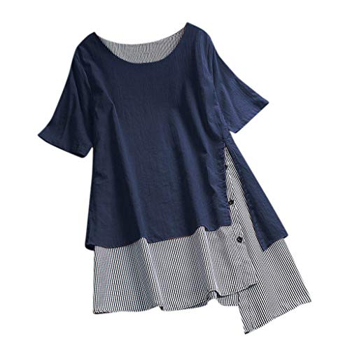 MRULIC Damen leinenbluse Frauen Sommer Casual Kurzarm T-Shirt Baumwolle Leinen Blusen Tops Mollige Locker Shirts Tunika große größen T-Shirt Hemd Pullover Frühling Jacquard Oberseiten(B81-Marine,50)