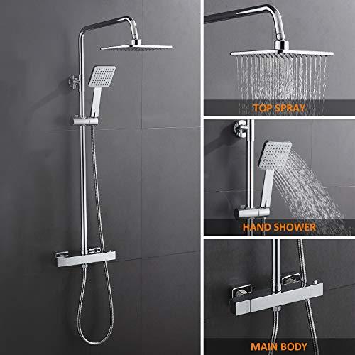 WOOHSE Duschsystem mit Thermostat Duscharmatur Regendusche und Handbrause Duschsäule...