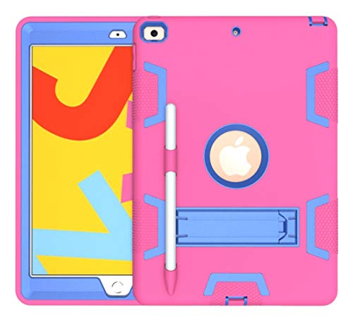 Protective Tablet PC Case Cover Shockproof Heavy-Duty Rubber High-Strength Sturdy and Durable Hybrid Three-Layer Full Body Protective Case for iPad pro 10.2(2019)Built-in Shockproof Support [Pencil Ho