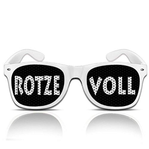 rotzevoll  Occhiali da sole divertenti per carnevale – ROTZE VOLL BIANCO – Divertenti occhiali da sole per il tuo costume da birra
