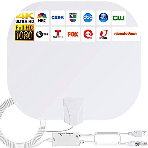 DVB-T2 TV-Antenne HD Freeview, für den Innenbereich, 50–80 km Reichweite 4K digitale HDTV-Zimmerantenne mit abnehmbarem Verstärker,Signalverstärker und 5 m langem Koaxialkabel,unterstützt VHF/UHF/FM