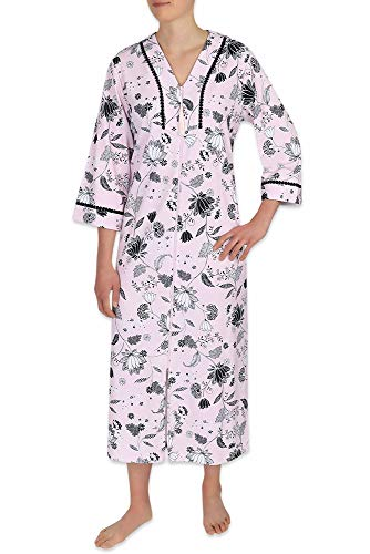 Miss Elaine Interlock Knit Robe, Long Robe with 3/4 Length Sleeves in Soft Lightweight Fabric with Full Zipper Front (2X, Blk/Wht Floral on Pink)