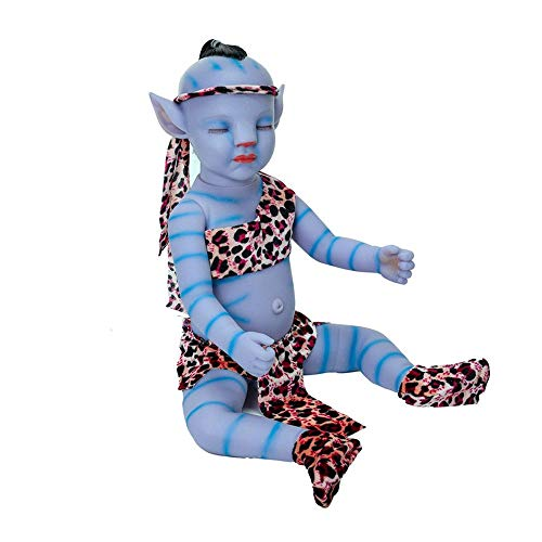 SANXDI A_vatar Muñeca de bebé realista con pelo renacido, no material de vinilo, muñecas creativas de silicona, monstruo azul, juguete para adultos, niños y niñas