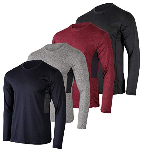 Mens Long Sleeve T-Shirt Workout Clothes Dri Quick Dry Fit Gym Crew Shirt Casual Athletic Active Wear Essentials Clothing Undershirt Top UPF - 4 Pack -Set 5,L