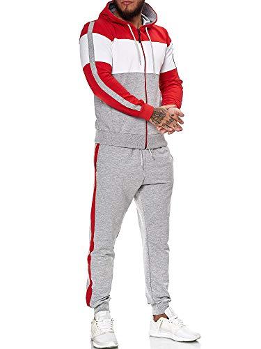 OneRedox   Herren Trainingsanzug   Jogginganzug   Sportanzug   Jogging Anzug   Hoodie-Sporthose   Jogging-Anzug   Trainings-Anzug   Jogging-Hose   Modell JG-1082 (XXL, Rot-Weiss-Grau)