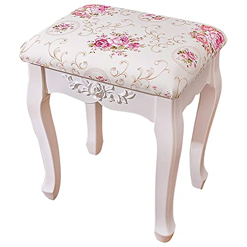 Chairs & Stools Schminktisch Hocker, Gepolsterte Bank Ottomane für Schminktisch Mit Gewölbten Beinen und Elegantem Rosa Muster, 150 Kg Kapazität Einfache Montage