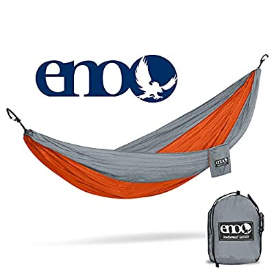 ENO, Eagles Nest Outfitters DoubleNest Lightweight Camping Hammock, 1 to 2 Person, Orange/Grey