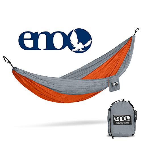 ENO - Eagles Nest Outfitters DoubleNest Lightweight Camping Hammock, 1 to 2 Person, Orange/Grey