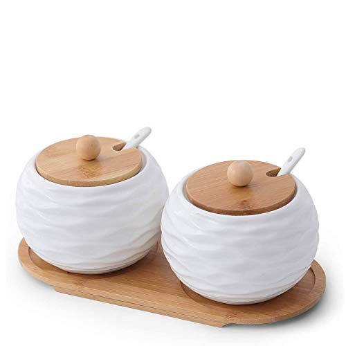 20 OZ Large Size Porcelain Condiment Pots Sugar Bowls with Spoon and Bamboo Lid White Round Wave Jar Seasoning Boxes for Home Kitchen 2 Pack