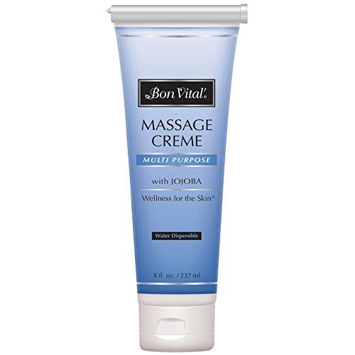 Bon Vital' Multi-Purpose Massage Crme, Professional Massage Cream with Aloe Vera to Relax Sore Muscles, Increase Circulation & Repair Dry Skin, Full Body Massage Moisturizer Cream, 8 Ounce Tube