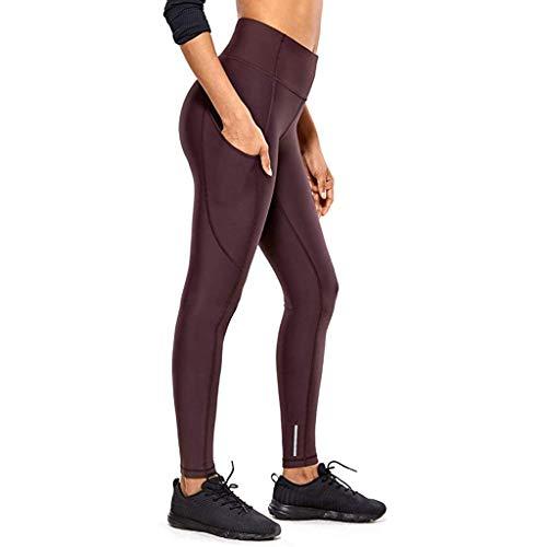 Xmiral Hosen Damen Hohe Taille Schnelltrocknende Dehnbare Fitness Shorts für Yogahosen Elastische Taille Nude Versteckte Taschen-Yoga-Hosen(Wein,M)