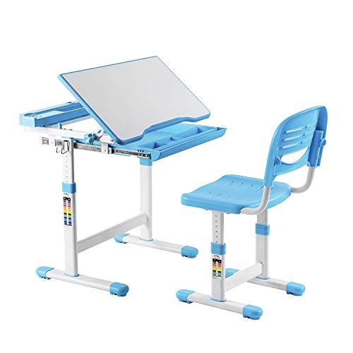 mecor Kinderschreibtisch mit Stuhl und Schublade, Höhenverstellbar Schülerschreibtisch Jugendschreibtisch für Kinder Schüler, Multifunktionale Schreibtisch Set, Arbeitsplatz mit Lagerung, Blau