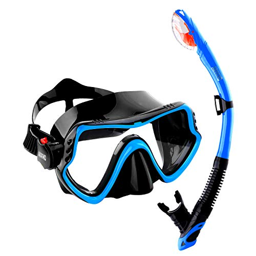 Aegend Dry Top Snorkel Set, Anti Fog Clear Vision Diving Mask and Free-Breathing Dry Snorkel, Watertight Dive Mask with Easy Adjustable Strap, for Adult Youth, Scuba Diving Swimming