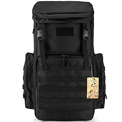 CREATOR 70-85L Large Capacity Tactical Travel Backpack MOLLE Hiking Rucksack Outdoor Travel Bag Assault Pack for Travelling Trekking Camping Hiking Hunting & Sports Events - Black