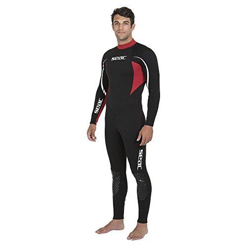 SEAC Relax Long, Muta Monopezzo in Neoprene da 2.2 mm per Snorkeling, Subacquea e Altri Sport in Acqua Uomo, Nero/Rosso, XL