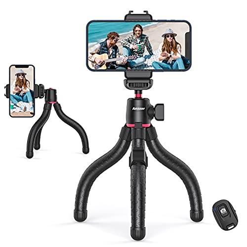 AnozerHandyStativ,HandyHalterHalterungmitkabelloserFernbedienung,FlexiblesReisestativfürSmartphone, Mini TripodHandy mit UniversalclipfürCamera, Stabil Stativ für Video-Blog/Foto