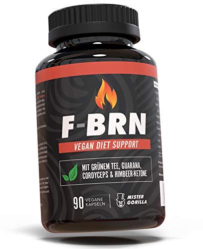 F-BRN | Diet Support | Natürlich & hochdosiert | Grüner Tee, Guarana, Himbeer-Ketone & Cordyceps | Beliebt bei Männer & Frauen die Fett verbrennen wollen | 90 Kapseln (vegan) | von MISTER GORILLA