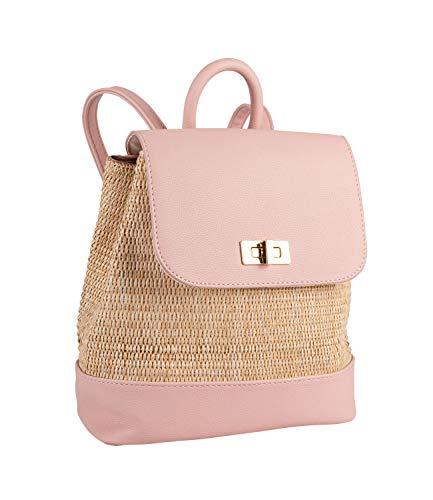 SIX Damen Tasche, Rucksack in rosa und beige, mit goldenem Verschluss, geflochtenes Bast, verstellbare Riemen (726-714)