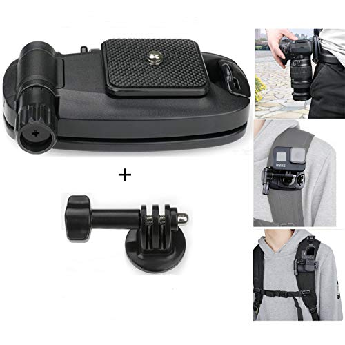 Diskary Camera Clip Waist Belt Holster Backpack Shoulder Strap Buckle Quick Release Clamp Plate with 1/4 Tripod Screw Mount Kit for GoPro Hero DJI OSMO Xiaomi Yi Action Camera and DSLR SLR Camera