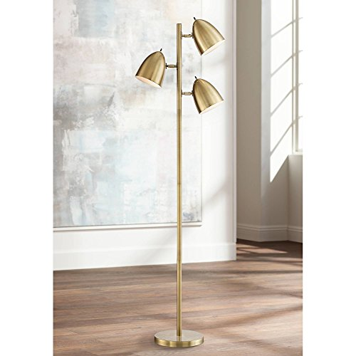 Aaron Mid Century Modern Contemporary Tall Standing Floor Lamp Tree 3-Light Aged Brass Metal Adjustable Dome Shades Decor for Living Room Reading House Bedroom Home Office - 360 Lighting
