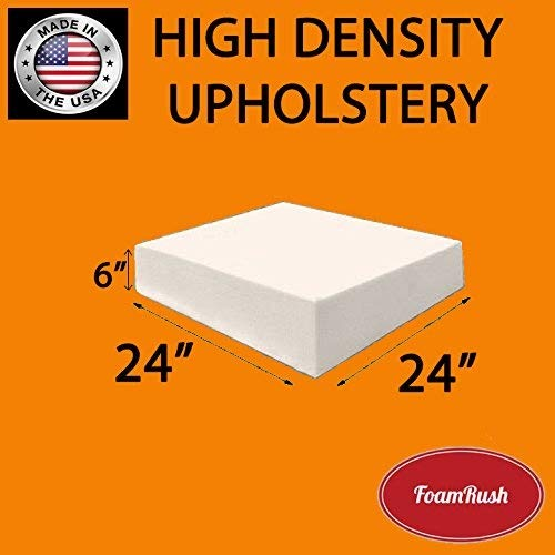 FoamRush 6' H x 24' W x 24' L Upholstery Foam Cushion High Density (Chair Cushion Square Foam for Dinning Chairs, Wheelchair Seat Cushion Replacement)