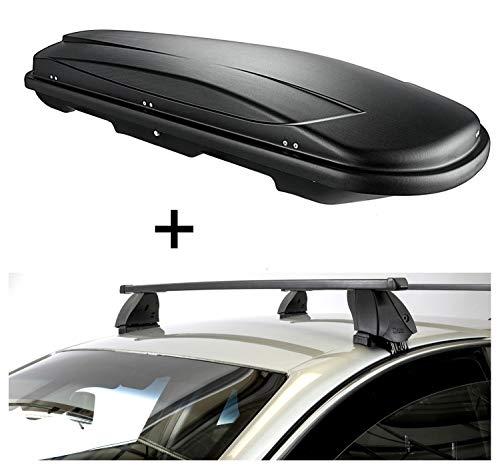 Dakkoffer VDPJUXT400 400 liter zwart afsluitbaar + dakdrager K1 MEDIUM compatibel met Volkswagen Golf V (1K) Plus (5-deurs) 03-08